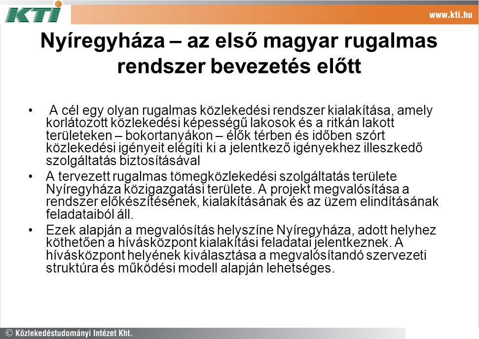 Nyíregyháza – az első magyar rugalmas rendszer bevezetés előtt A cél egy olyan rugalmas közlekedési rendszer kialakítása, amely korlátozott közlekedés