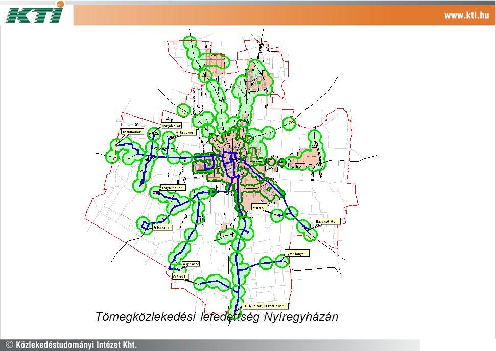 Tömegközlekedési lefedettség Nyíregyházán