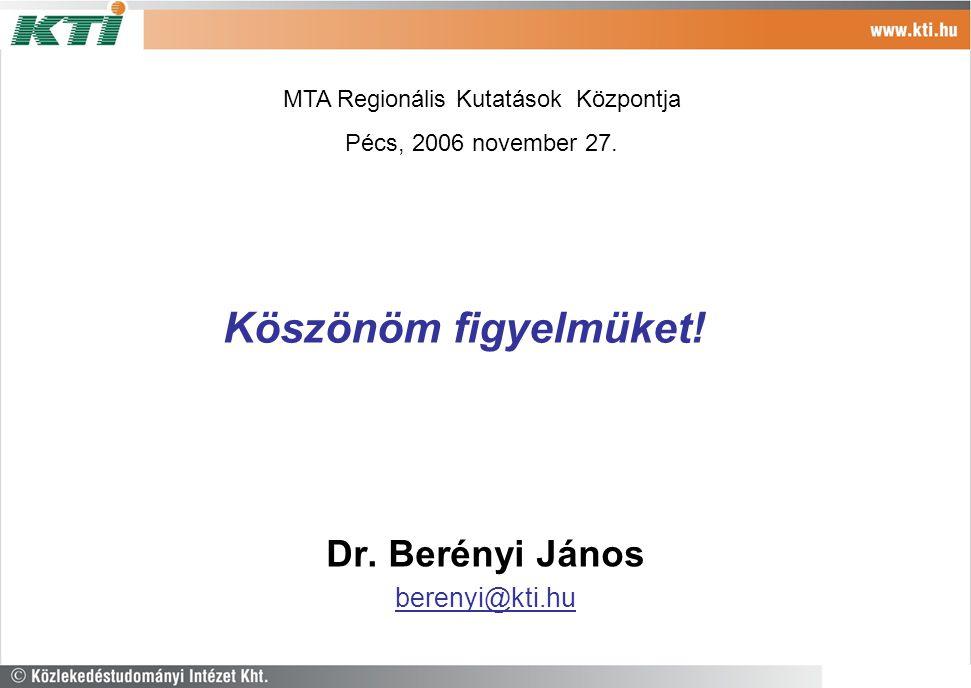 Köszönöm figyelmüket! Dr. Berényi János berenyi@kti.hu MTA Regionális Kutatások Központja Pécs, 2006 november 27.