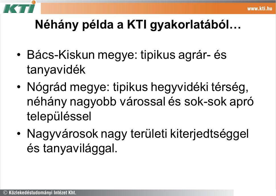 Néhány példa a KTI gyakorlatából… Bács-Kiskun megye: tipikus agrár- és tanyavidék Nógrád megye: tipikus hegyvidéki térség, néhány nagyobb várossal és