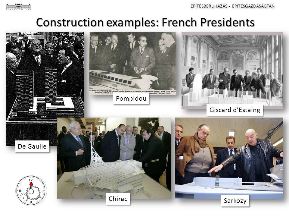 ÉPÍTÉSBERUHÁZÁS - ÉPÍTÉSGAZDASÁGTAN I II III IV Construction examples: French Presidents De Gaulle Pompidou Giscard d'Estaing Chirac Sarkozy