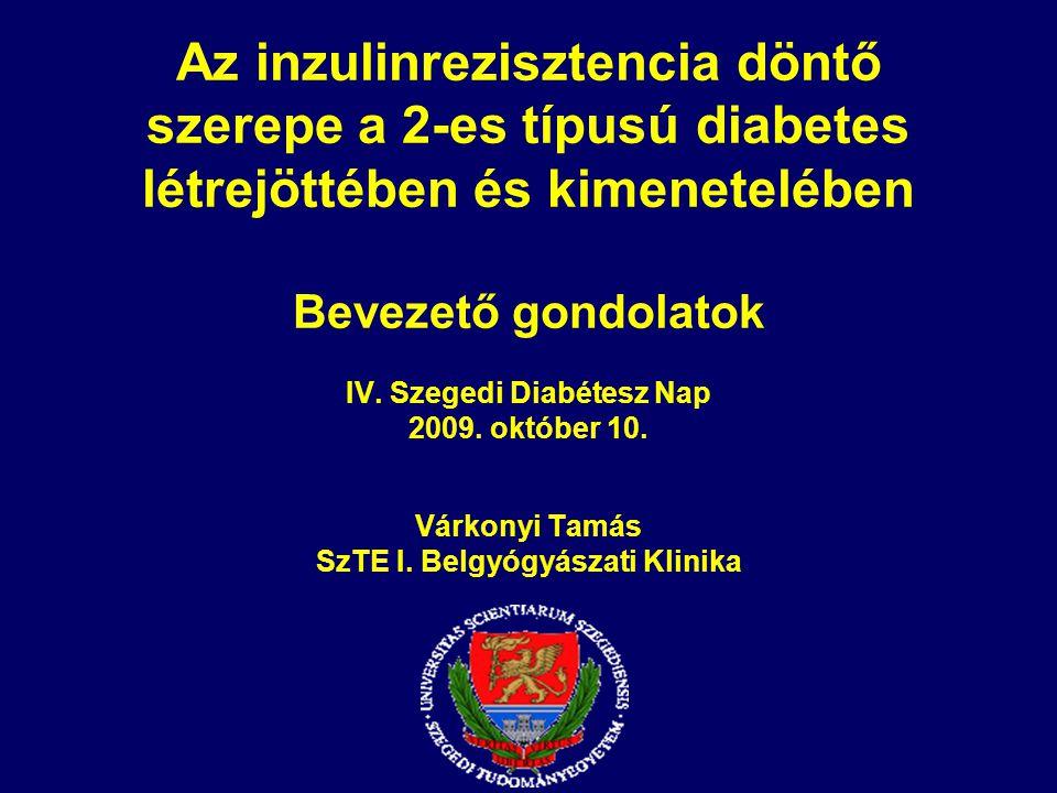 Az inzulinrezisztencia döntő szerepe a 2-es típusú diabetes létrejöttében és kimenetelében Bevezető gondolatok IV. Szegedi Diabétesz Nap 2009. október