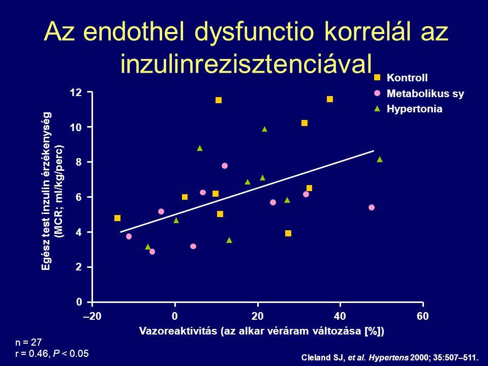 Cleland SJ, et al. Hypertens 2000; 35:507–511. Egész test inzulin érzékenység (MCR; ml/kg/perc) Vazoreaktivitás (az alkar véráram változása [%]) 12 0