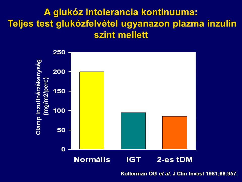 A glukóz intolerancia kontinuuma: Teljes test glukózfelvétel ugyanazon plazma inzulin szint mellett Kolterman OG et al. J Clin Invest 1981;68:957. Cla