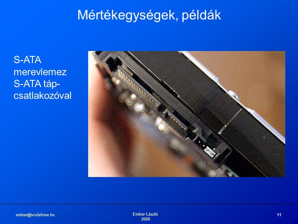 ember@vodafone.hu Ember László 2008 11 Mértékegységek, példák S-ATA merevlemez S-ATA táp- csatlakozóval
