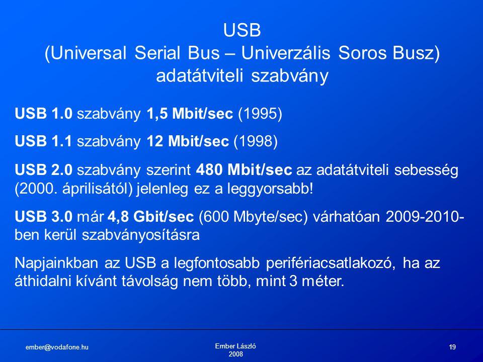 ember@vodafone.hu Ember László 2008 19 USB (Universal Serial Bus – Univerzális Soros Busz) adatátviteli szabvány USB 1.0 szabvány 1,5 Mbit/sec (1995) USB 1.1 szabvány 12 Mbit/sec (1998) USB 2.0 szabvány szerint 480 Mbit/sec az adatátviteli sebesség (2000.