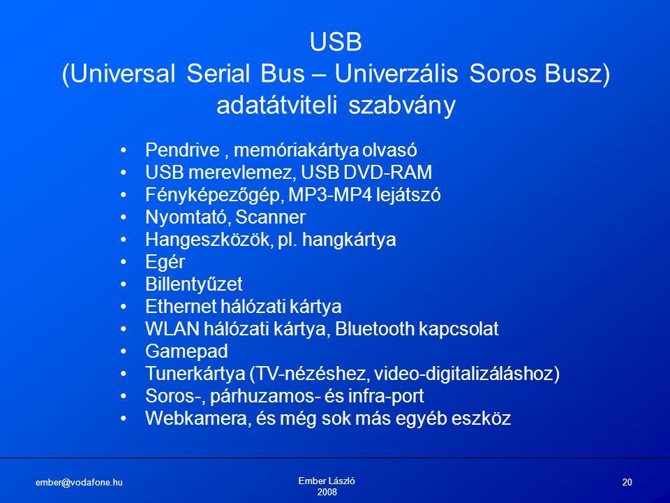 ember@vodafone.hu Ember László 2008 20 USB (Universal Serial Bus – Univerzális Soros Busz) adatátviteli szabvány Pendrive, memóriakártya olvasó USB merevlemez, USB DVD-RAM Fényképezőgép, MP3-MP4 lejátszó Nyomtató, Scanner Hangeszközök, pl.