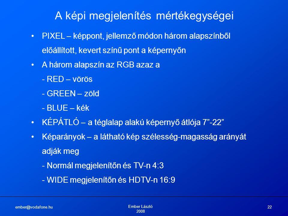ember@vodafone.hu Ember László 2008 22 A képi megjelenítés mértékegységei PIXEL – képpont, jellemző módon három alapszínből előállított, kevert színű pont a képernyőn A három alapszín az RGB azaz a - RED – vörös - GREEN – zöld - BLUE – kék KÉPÁTLÓ – a téglalap alakú képernyő átlója 7 -22 Képarányok – a látható kép szélesség-magasság arányát adják meg - Normál megjelenítőn és TV-n 4:3 - WIDE megjelenítőn és HDTV-n 16:9