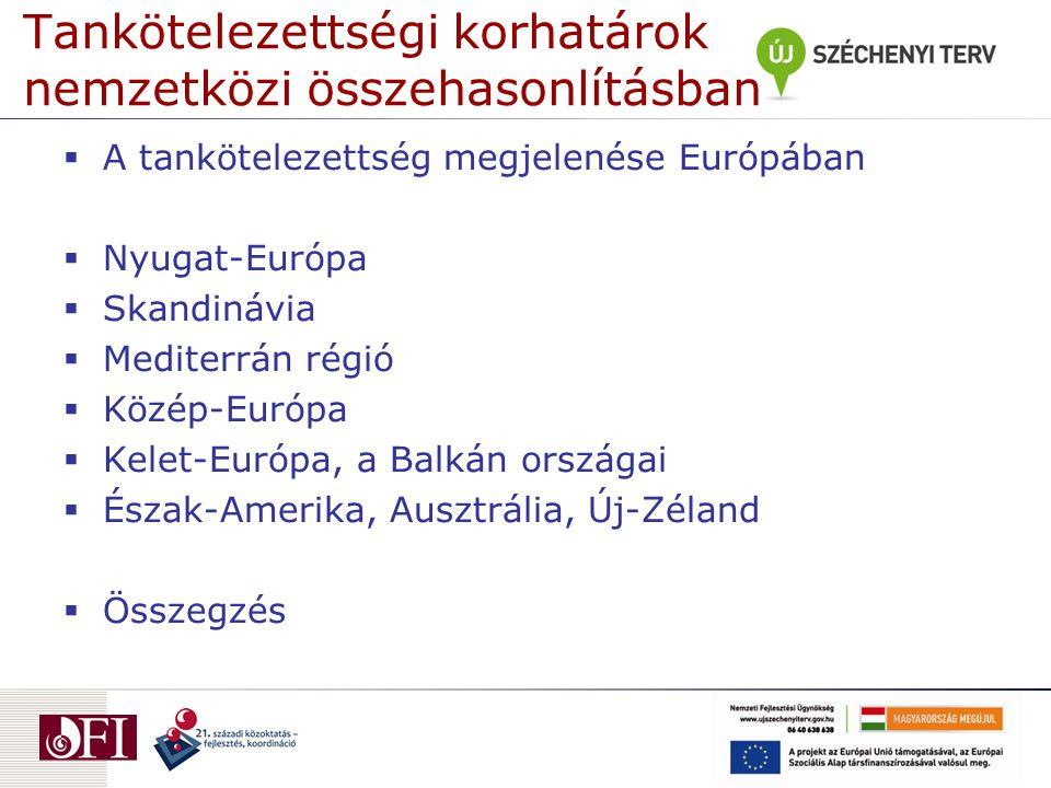 Tankötelezettségi korhatárok nemzetközi összehasonlításban  A tankötelezettség megjelenése Európában  Nyugat-Európa  Skandinávia  Mediterrán régió