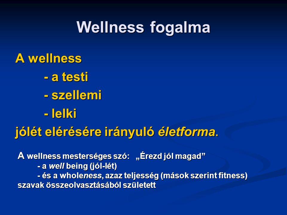 Wellness fogalma A wellness - a testi - a testi - szellemi - szellemi - lelki - lelki jólét elérésére irányuló életforma. A wellness mesterséges szó: