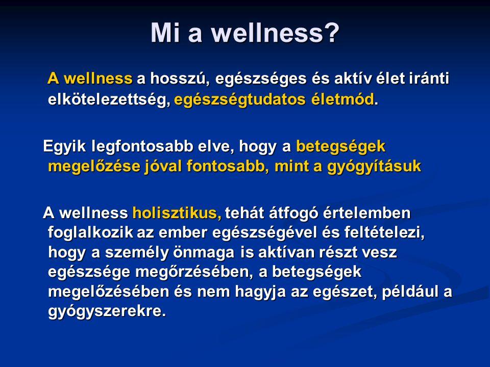 Mi a wellness? A wellness a hosszú, egészséges és aktív élet iránti elkötelezettség, egészségtudatos életmód. A wellness a hosszú, egészséges és aktív