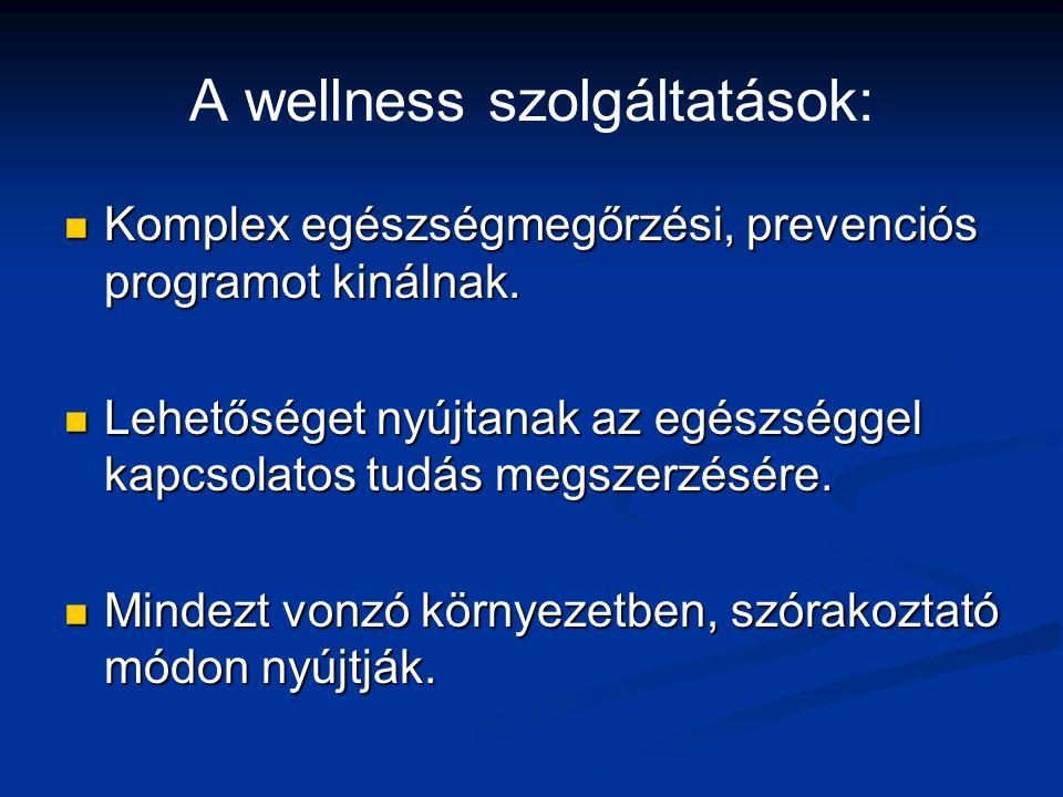 A wellness szolgáltatások: Komplex egészségmegőrzési, prevenciós programot kinálnak. Komplex egészségmegőrzési, prevenciós programot kinálnak. Lehetős