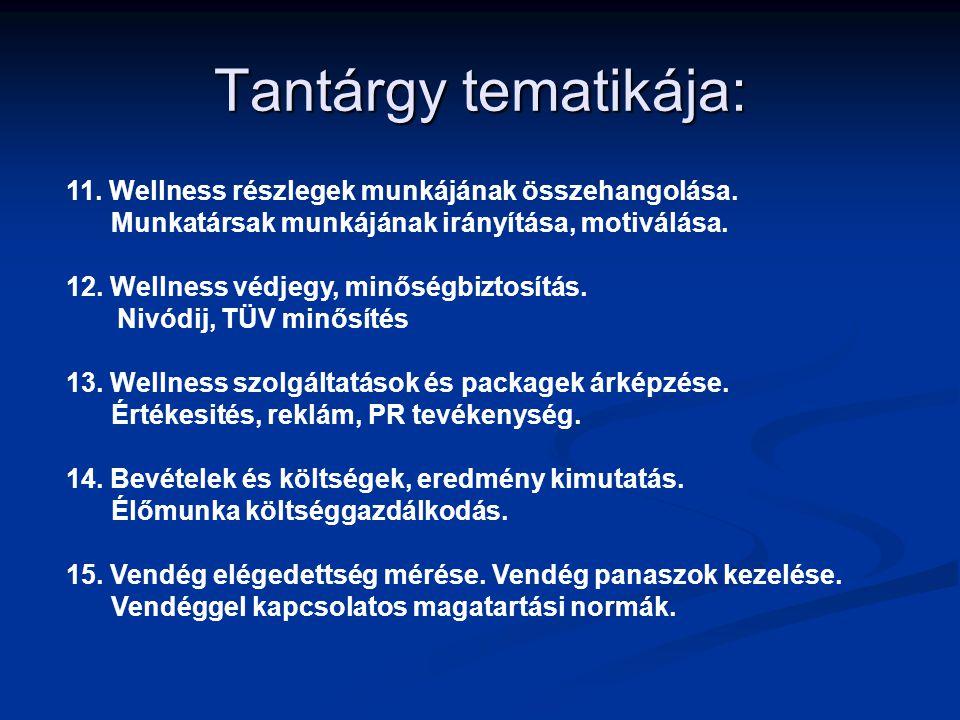 Tantárgy tematikája: 11. Wellness részlegek munkájának összehangolása. Munkatársak munkájának irányítása, motiválása. 12. Wellness védjegy, minőségbiz