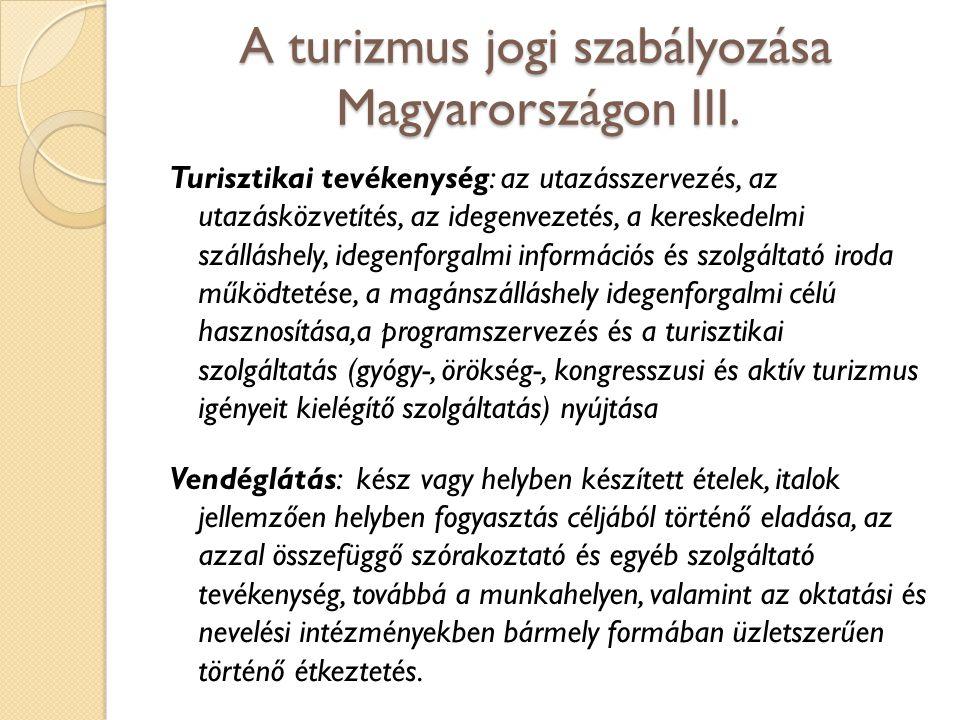 A turizmus jogi szabályozása Magyarországon III. Turisztikai tevékenység: az utazásszervezés, az utazásközvetítés, az idegenvezetés, a kereskedelmi sz