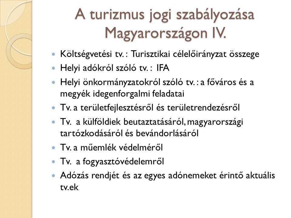 A turizmus jogi szabályozása Magyarországon IV. Költségvetési tv. : Turisztikai célelőirányzat összege Helyi adókról szóló tv. : IFA Helyi önkormányza
