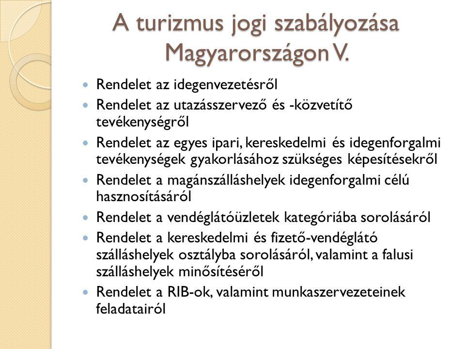 A turizmus jogi szabályozása Magyarországon V. Rendelet az idegenvezetésről Rendelet az utazásszervező és -közvetítő tevékenységről Rendelet az egyes