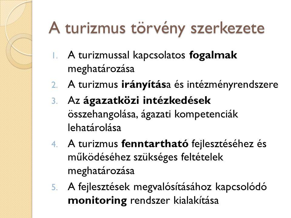 A turizmus törvény szerkezete 1. A turizmussal kapcsolatos fogalmak meghatározása 2. A turizmus irányítása és intézményrendszere 3. Az ágazatközi inté