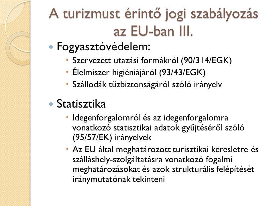 A turizmust érintő jogi szabályozás az EU-ban III. Fogyasztóvédelem:  Szervezett utazási formákról (90/314/EGK)  Élelmiszer higiéniájáról (93/43/EGK