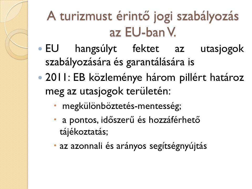 A turizmust érintő jogi szabályozás az EU-ban V. EU hangsúlyt fektet az utasjogok szabályozására és garantálására is 2011: EB közleménye három pillért