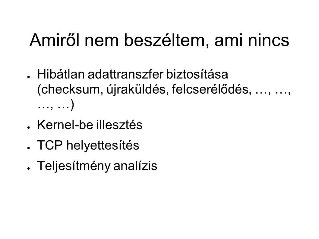 Amiről nem beszéltem, ami nincs ● Hibátlan adattranszfer biztosítása (checksum, újraküldés, felcserélődés, …, …, …, …) ● Kernel-be illesztés ● TCP helyettesítés ● Teljesítmény analízis