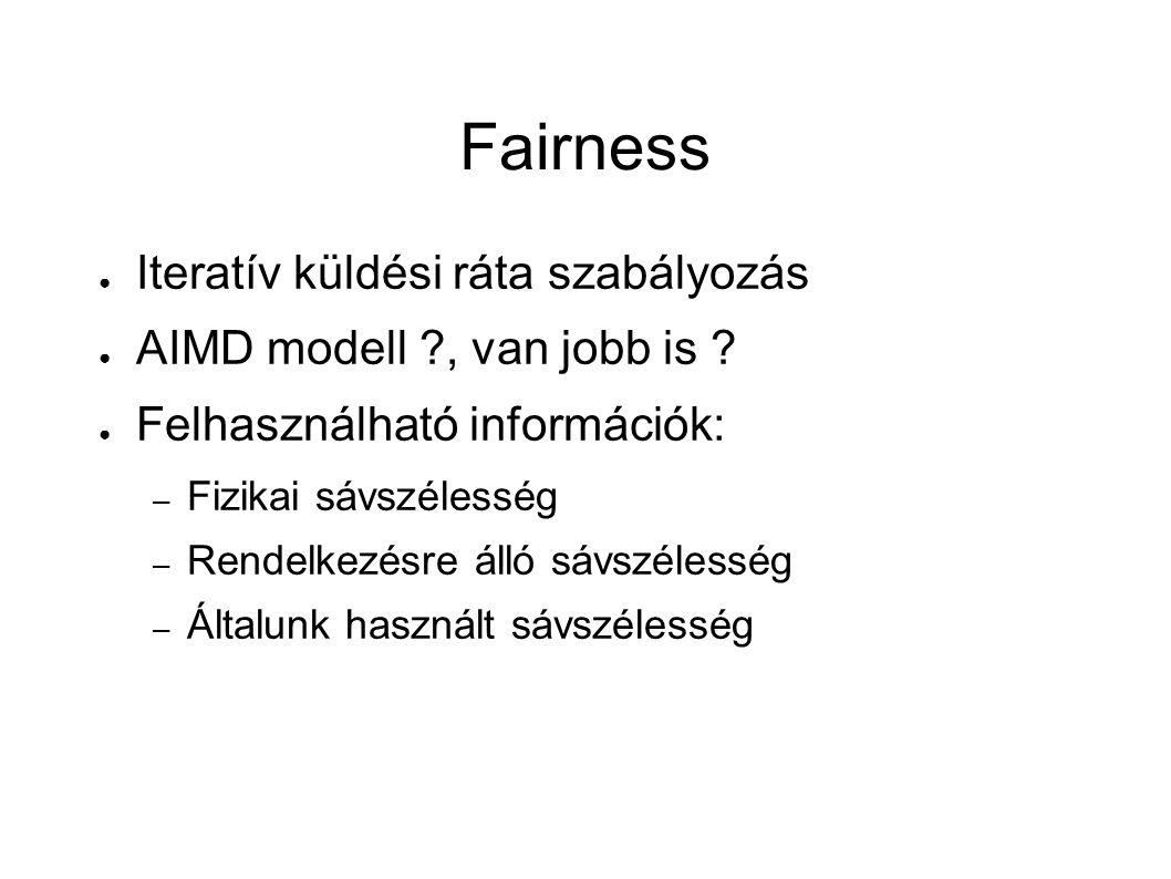 Fairness ● Iteratív küldési ráta szabályozás ● AIMD modell , van jobb is .