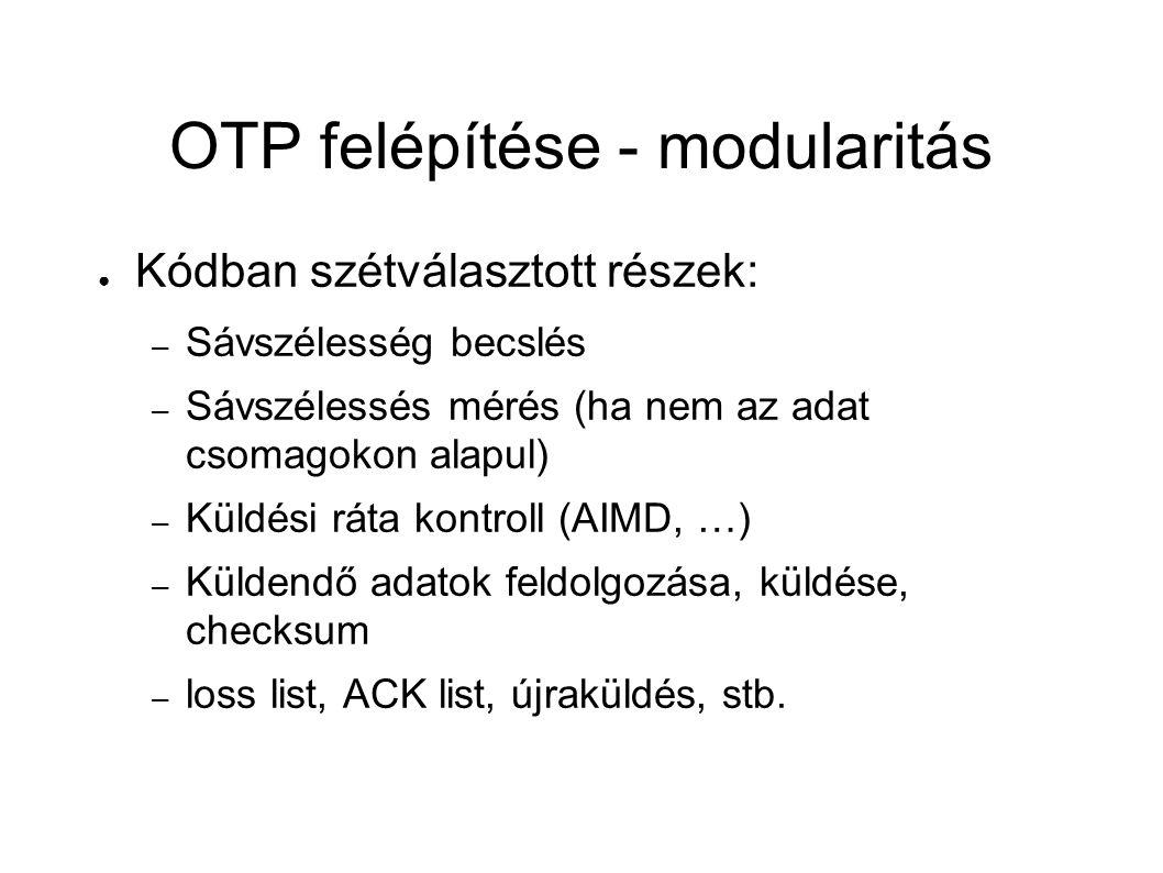 OTP felépítése - modularitás ● Kódban szétválasztott részek: – Sávszélesség becslés – Sávszélessés mérés (ha nem az adat csomagokon alapul) – Küldési ráta kontroll (AIMD, …) – Küldendő adatok feldolgozása, küldése, checksum – loss list, ACK list, újraküldés, stb.