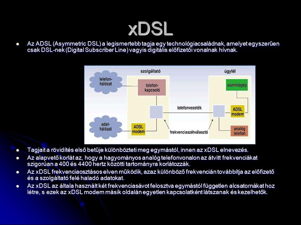 xDSL Az ADSL (Asymmetric DSL) a legismertebb tagja egy technológiacsaládnak, amelyet egyszerűen csak DSL-nek (Digital Subscriber Line) vagyis digitális előfizetői vonalnak hívnak.
