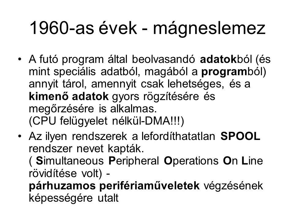 1960-as évek - mágneslemez A futó program által beolvasandó adatokból (és mint speciális adatból, magából a programból) annyit tárol, amennyit csak le