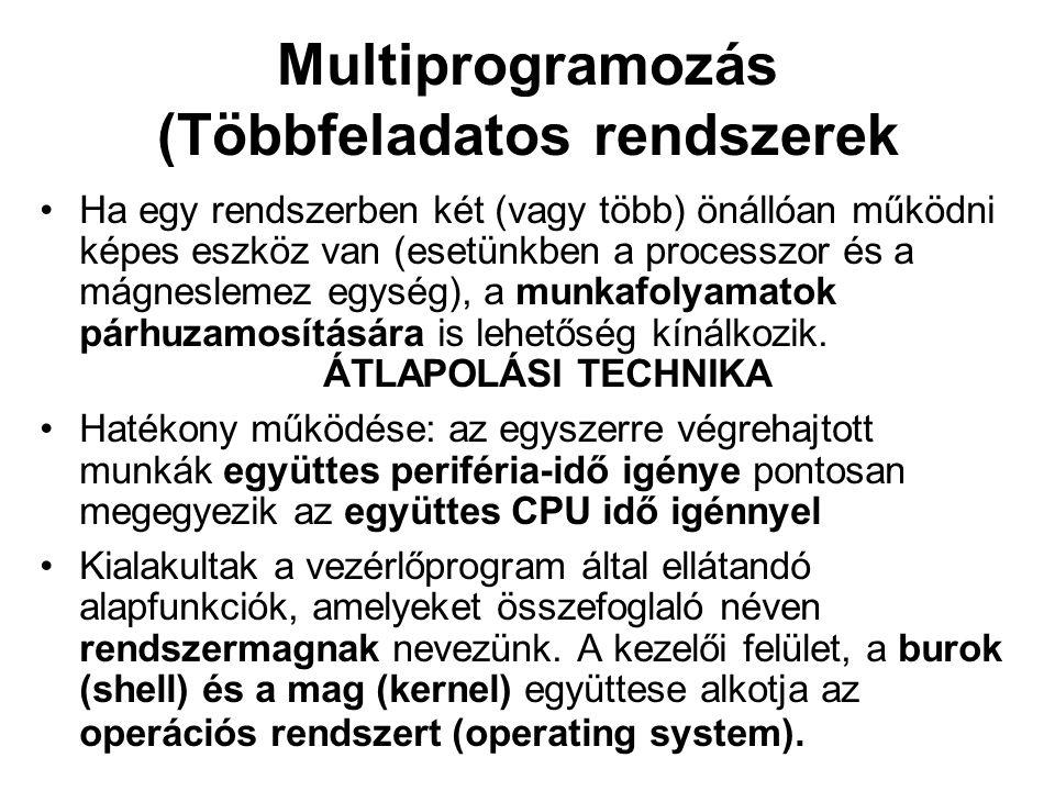 Multiprogramozás (Többfeladatos rendszerek Ha egy rendszerben két (vagy több) önállóan működni képes eszköz van (esetünkben a processzor és a mágnesle