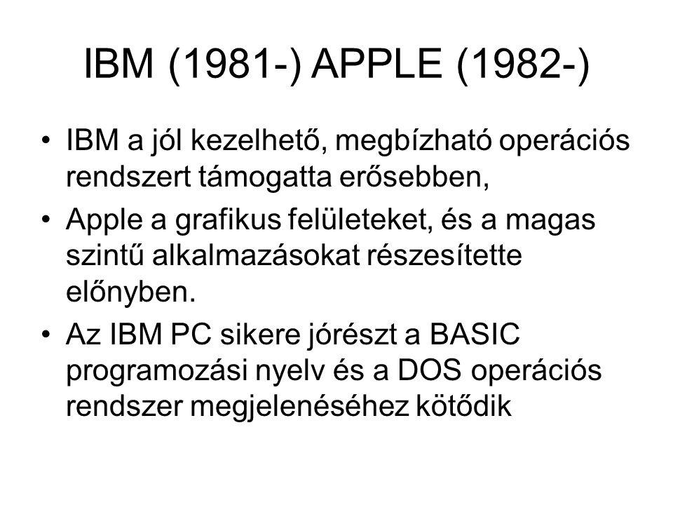 IBM (1981-) APPLE (1982-) IBM a jól kezelhető, megbízható operációs rendszert támogatta erősebben, Apple a grafikus felületeket, és a magas szintű alk
