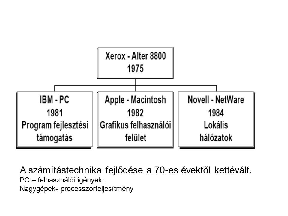 A számítástechnika fejlődése a 70-es évektől kettévált. PC – felhasználói igények; Nagygépek- processzorteljesítmény