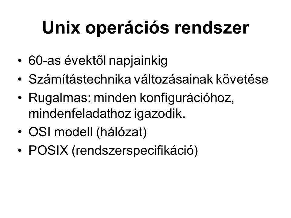 Unix operációs rendszer 60-as évektől napjainkig Számítástechnika változásainak követése Rugalmas: minden konfigurációhoz, mindenfeladathoz igazodik.