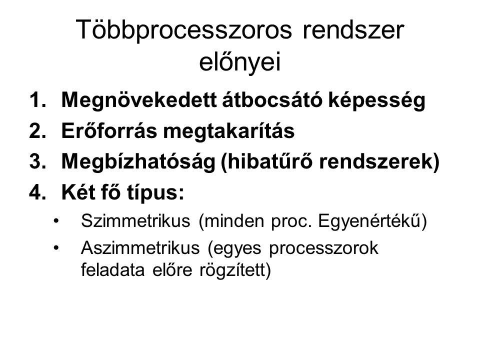Többprocesszoros rendszer előnyei 1.Megnövekedett átbocsátó képesség 2.Erőforrás megtakarítás 3.Megbízhatóság (hibatűrő rendszerek) 4.Két fő típus: Sz