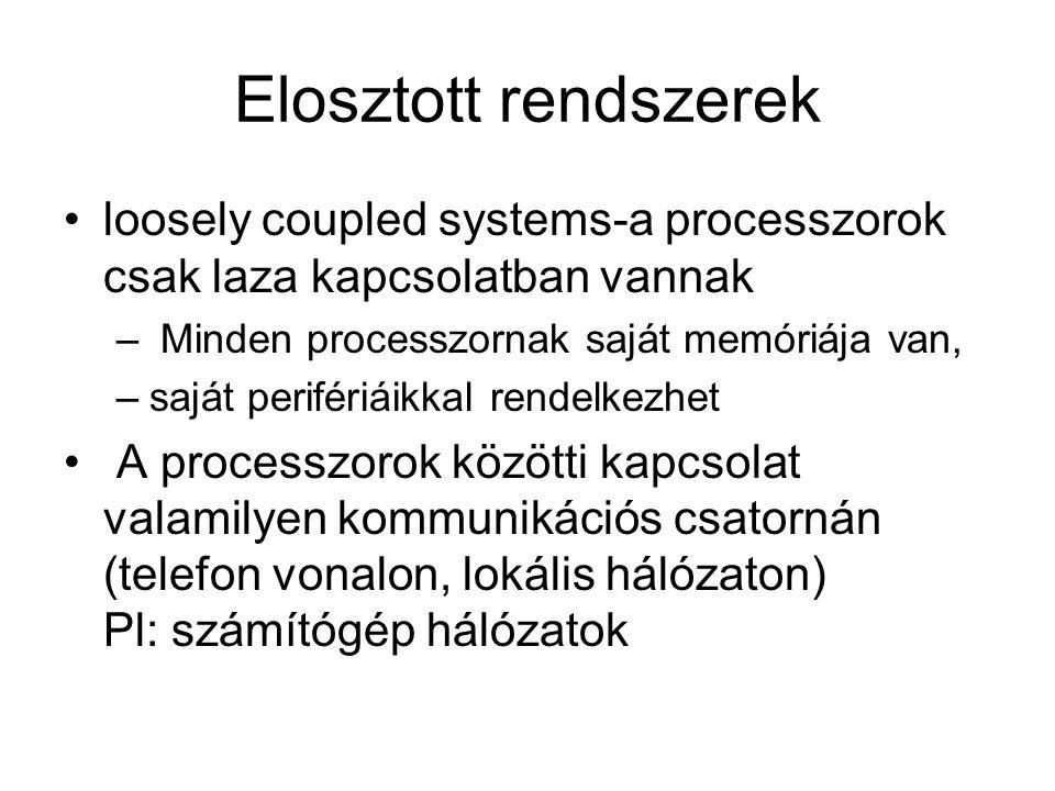 Elosztott rendszerek loosely coupled systems-a processzorok csak laza kapcsolatban vannak – Minden processzornak saját memóriája van, –saját perifériá