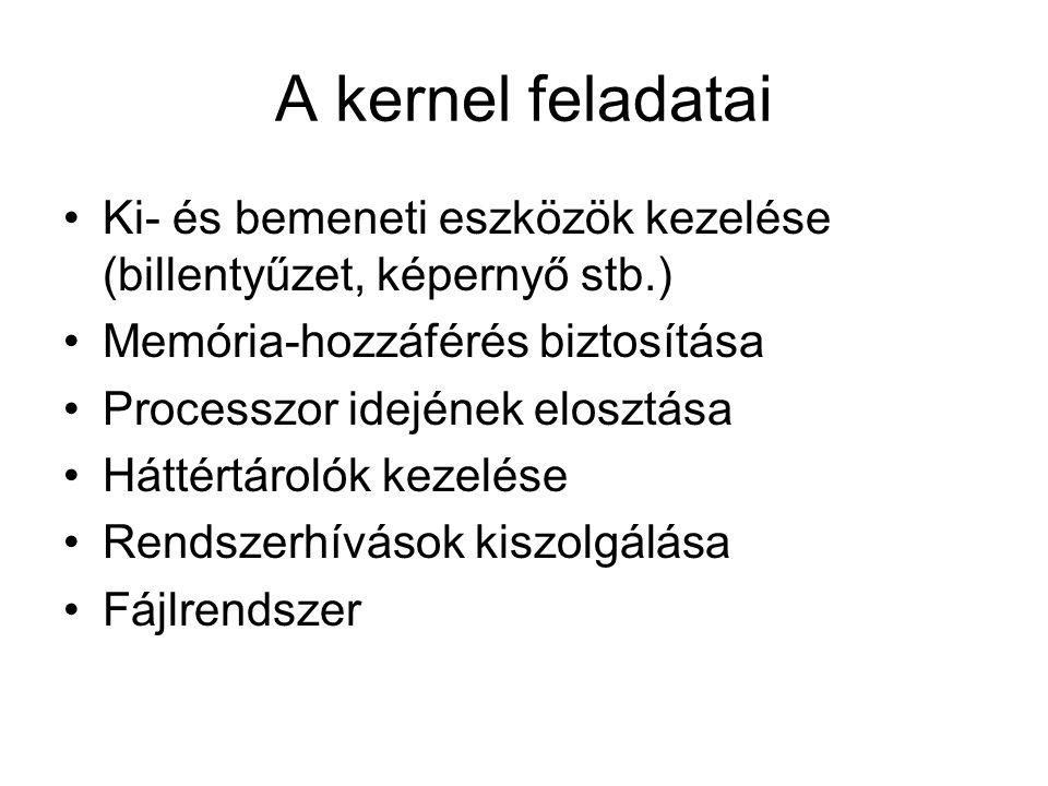 A kernel feladatai Ki- és bemeneti eszközök kezelése (billentyűzet, képernyő stb.) Memória-hozzáférés biztosítása Processzor idejének elosztása Háttér