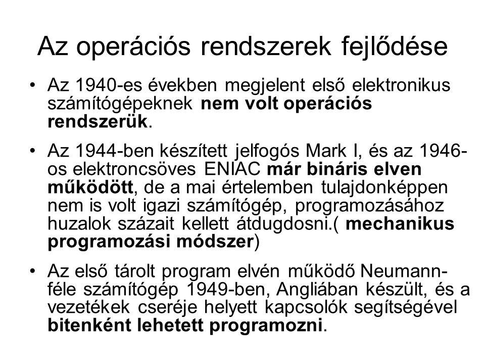 Az operációs rendszerek fejlődése Az 1940-es években megjelent első elektronikus számítógépeknek nem volt operációs rendszerük. Az 1944-ben készített
