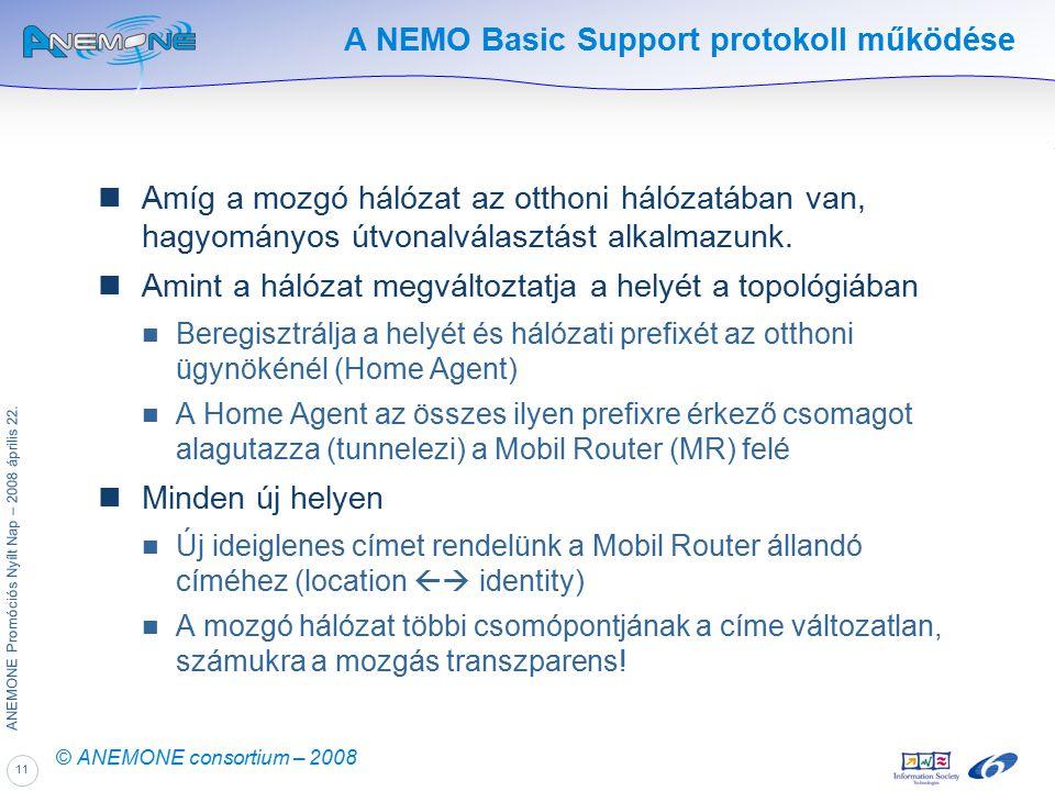 11 ANEMONE Promóciós Nyílt Nap – 2008 április 22. © ANEMONE consortium – 2008 A NEMO Basic Support protokoll működése Amíg a mozgó hálózat az otthoni