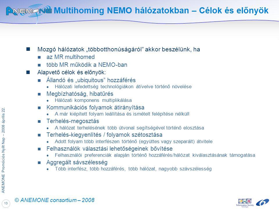 """13 ANEMONE Promóciós Nyílt Nap – 2008 április 22. © ANEMONE consortium – 2008 Multihoming NEMO hálózatokban – Célok és előnyök Mozgó hálózatok """"többot"""