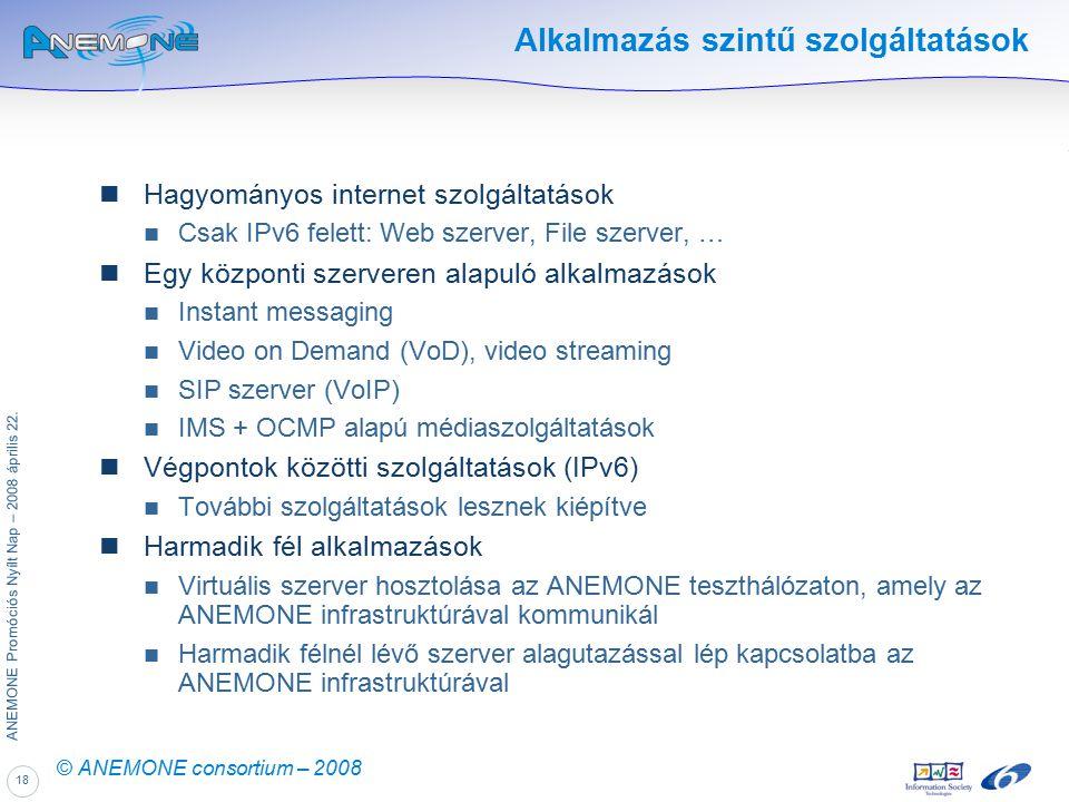 18 ANEMONE Promóciós Nyílt Nap – 2008 április 22. © ANEMONE consortium – 2008 Alkalmazás szintű szolgáltatások Hagyományos internet szolgáltatások Csa