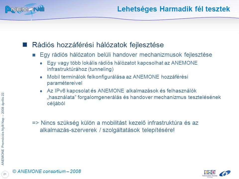 21 ANEMONE Promóciós Nyílt Nap – 2008 április 22. © ANEMONE consortium – 2008 Lehetséges Harmadik fél tesztek Rádiós hozzáférési hálózatok fejlesztése