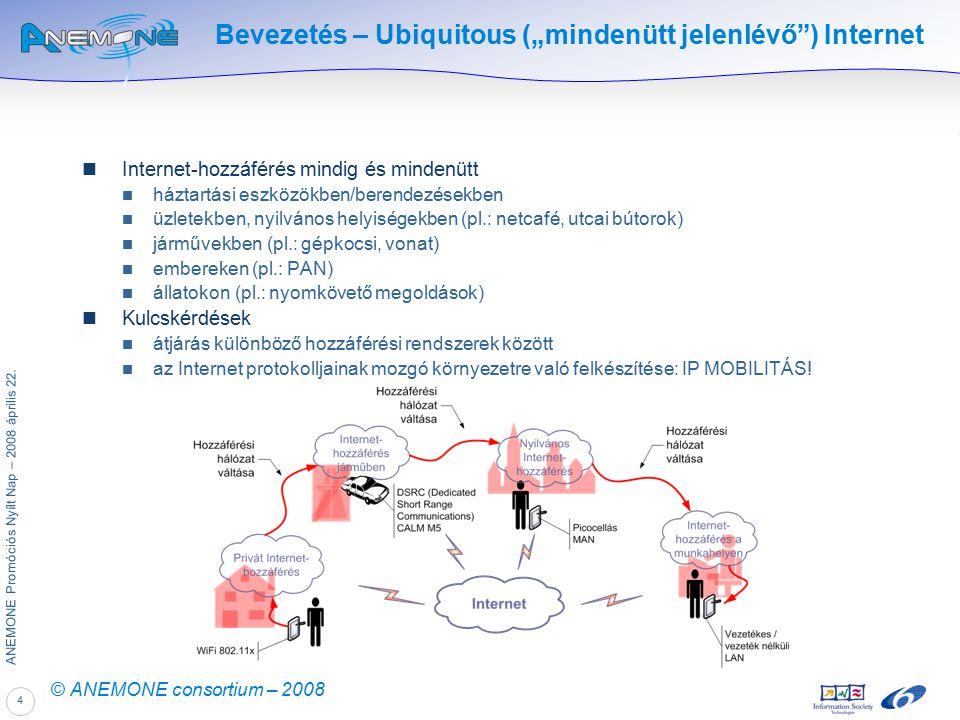 """4 ANEMONE Promóciós Nyílt Nap – 2008 április 22. © ANEMONE consortium – 2008 Bevezetés – Ubiquitous (""""mindenütt jelenlévő"""") Internet Internet-hozzáfér"""