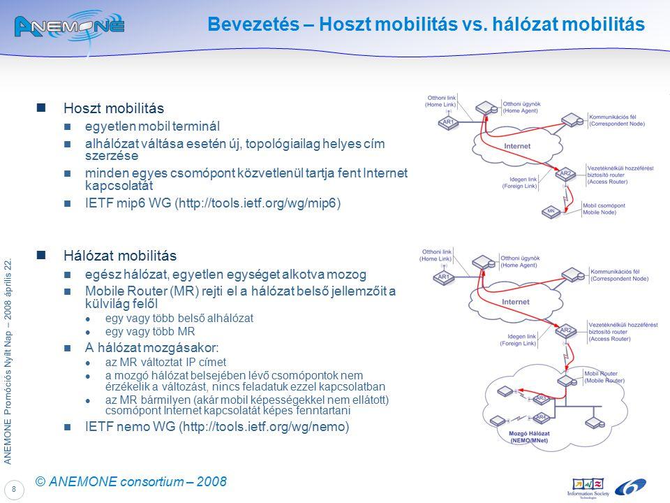 8 ANEMONE Promóciós Nyílt Nap – 2008 április 22. © ANEMONE consortium – 2008 Bevezetés – Hoszt mobilitás vs. hálózat mobilitás Hoszt mobilitás egyetle
