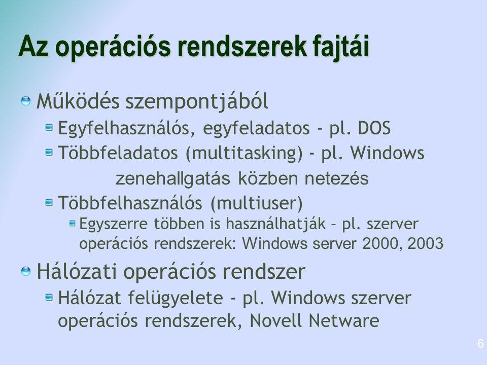 Az operációs rendszerek fajtái Működés szempontjából Egyfelhasználós, egyfeladatos - pl. DOS Többfeladatos (multitasking) - pl. Windows zenehallgatás