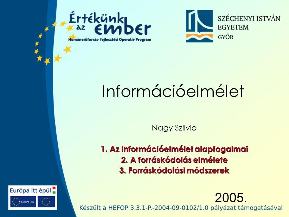 Széchenyi István Egyetem 62 Információelmélet – Forráskódolási módszerek Huffman-kód A legrövidebb átlagos szóhosszú bináris prefix kód.
