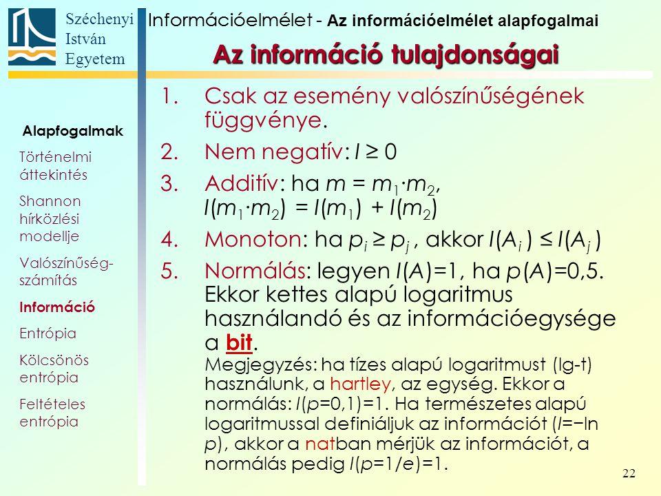Széchenyi István Egyetem 22 Az információ tulajdonságai 1.Csak az esemény valószínűségének függvénye. 2.Nem negatív: I ≥ 0 3.Additív: ha m = m 1 ∙m 2,