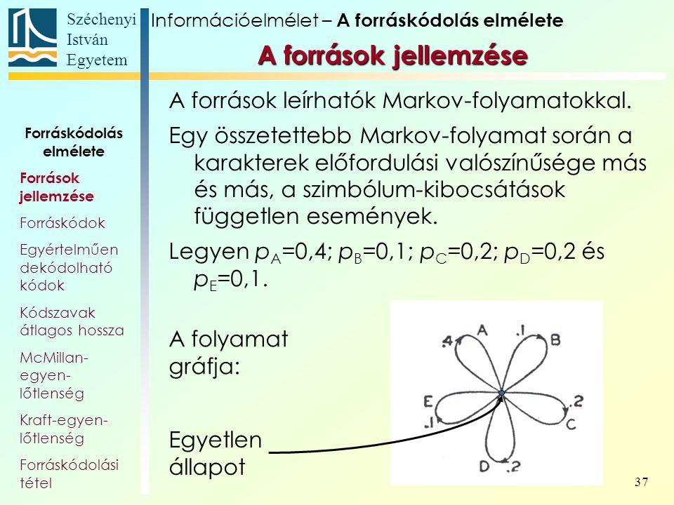 Széchenyi István Egyetem 37 A források leírhatók Markov-folyamatokkal. Egy összetettebb Markov-folyamat során a karakterek előfordulási valószínűsége