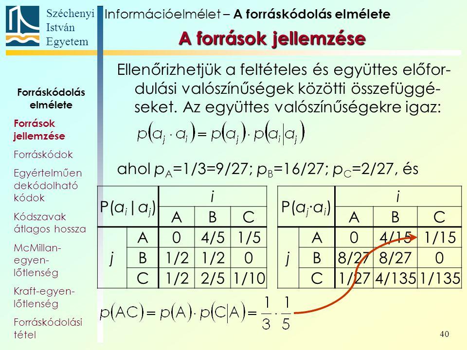 Széchenyi István Egyetem 40 Ellenőrizhetjük a feltételes és együttes előfor- dulási valószínűségek közötti összefüggé- seket. Az együttes valószínűség