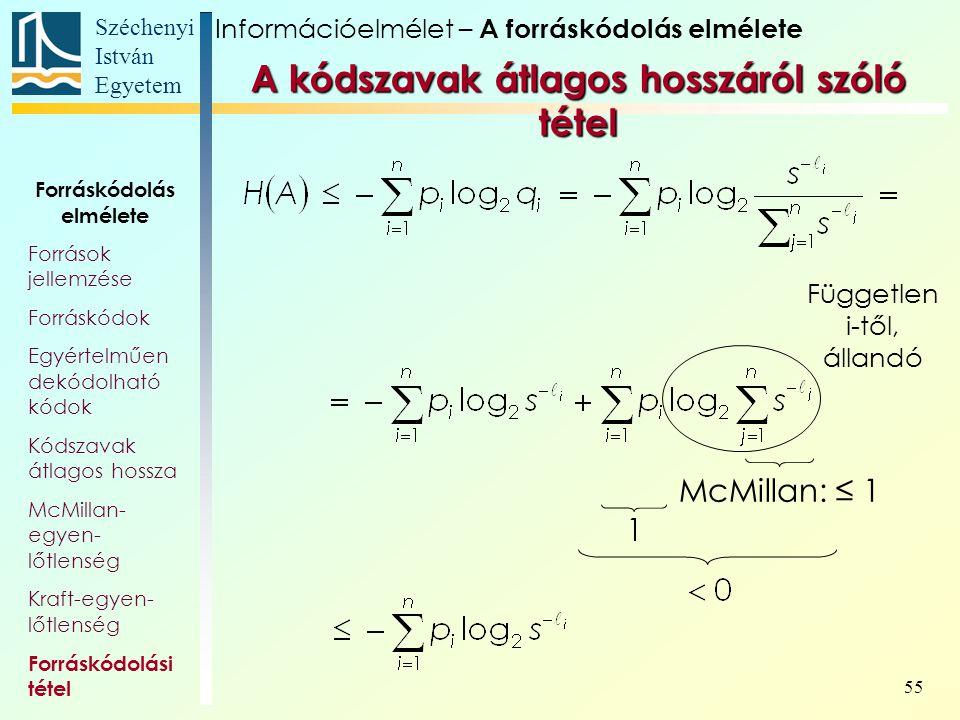 Széchenyi István Egyetem 55 Forráskódolás elmélete Források jellemzése Forráskódok Egyértelműen dekódolható kódok Kódszavak átlagos hossza McMillan- e