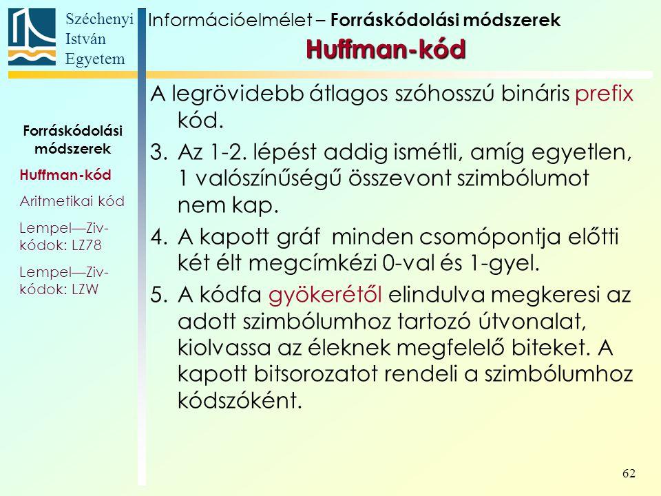 Széchenyi István Egyetem 62 Információelmélet – Forráskódolási módszerek Huffman-kód A legrövidebb átlagos szóhosszú bináris prefix kód. 3.Az 1-2. lép