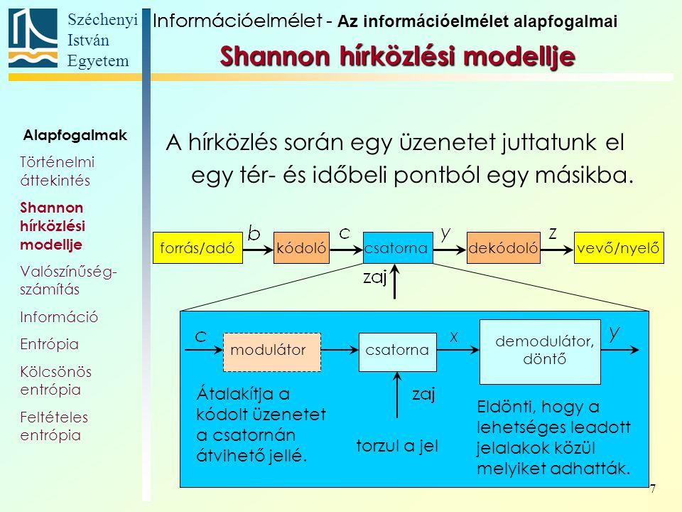 Széchenyi István Egyetem 38 Még összetettebb Markov-folyamatok során nem csak a karakterek előfordulási valószínűsége más és más, hanem a szimbólum-kibocsátások sem független események.